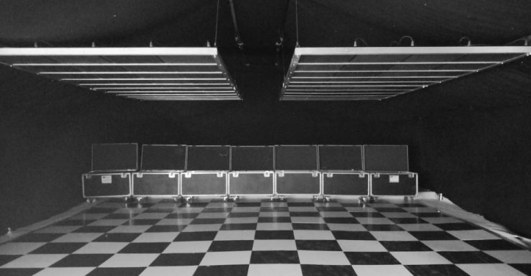 black and white image of checkered dancefloor with Zone Array panels