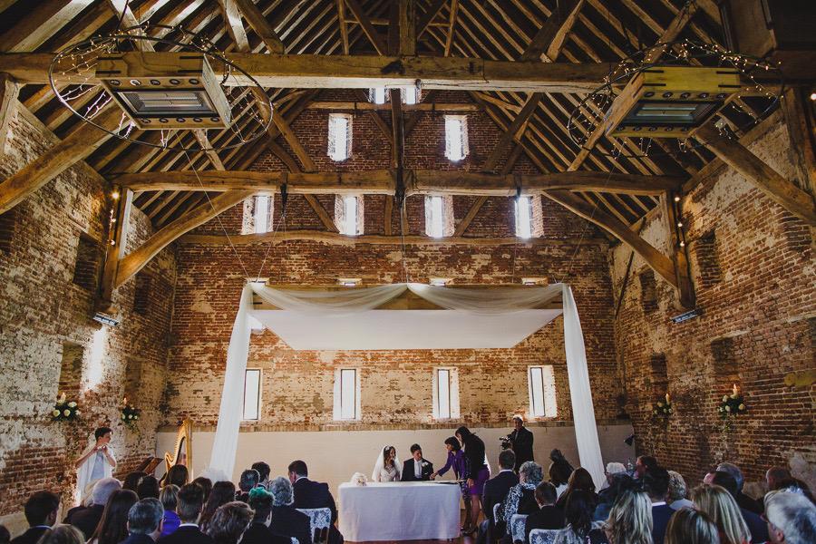internal converted barn wedding ceremony zone array overhead