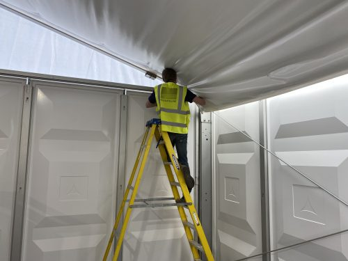 Thermoline marquee insulation being installed