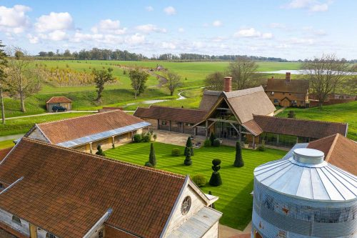 chapel barn overhead shot of quad with topiary