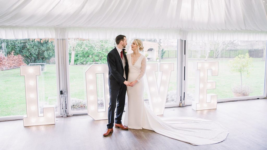 wedding at stanbrook abbey - bride and groom image